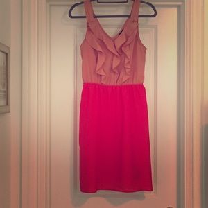 Two Tone Ruffle Sleeveless Dress